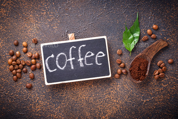 Roasted beans and ground coffee - Stock Photo - Images