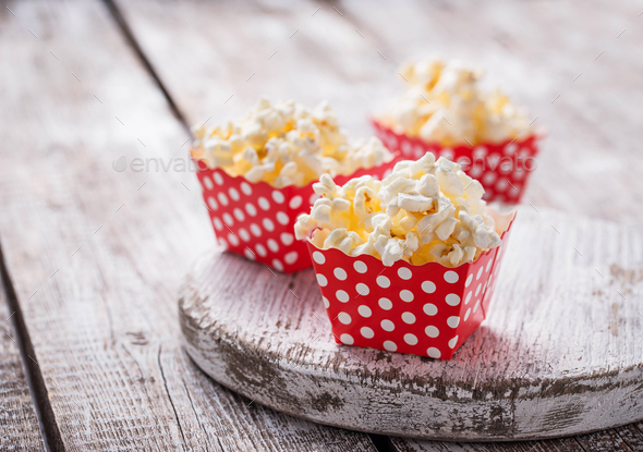 Popcorn in red polka dot pack - Stock Photo - Images