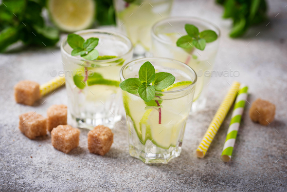 Summer  drink with lime and mint - Stock Photo - Images