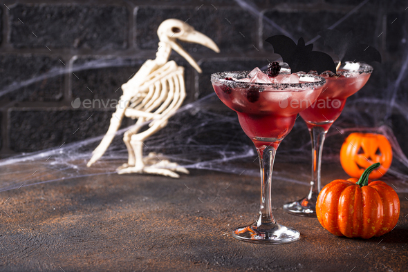 Halloweens spooky drink with blackberry - Stock Photo - Images