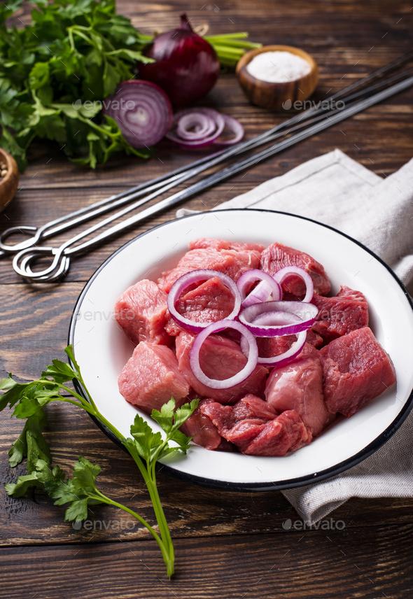 Ingredients for cooking shish kebab or shashlik - Stock Photo - Images