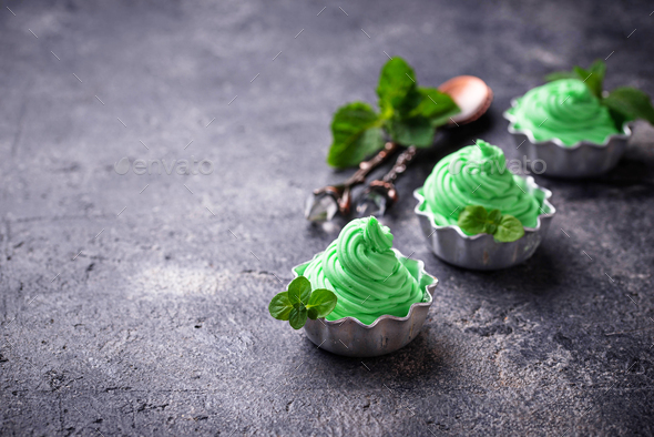 Mint ice cream in bowls - Stock Photo - Images