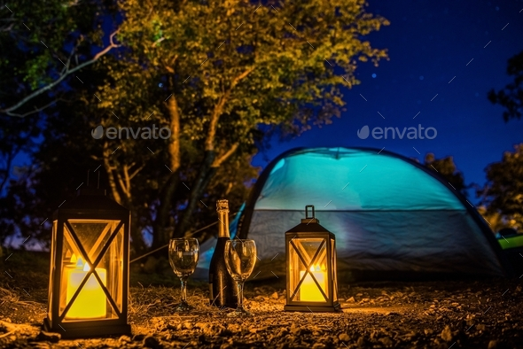 Romantic Camping Night - Stock Photo - Images