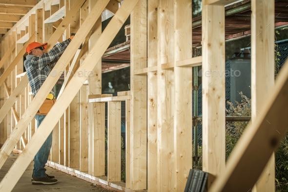 Wood House Construction Job - Stock Photo - Images