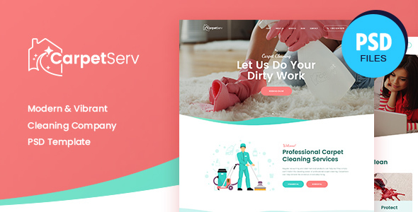 CarpetServ | Cleaning Company, Housekeeping & Janitorial Services PSD Template