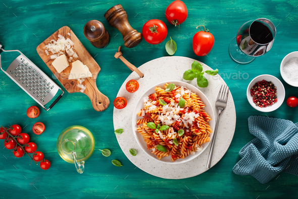healthy fusilli pasta with tomato sauce parmesan basil - Stock Photo - Images