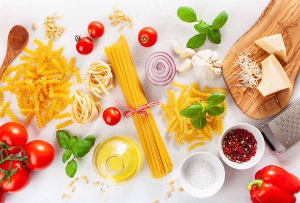 ingredients for italian cousine flat lay, pasta spaghetti penne - Stock Photo - Images