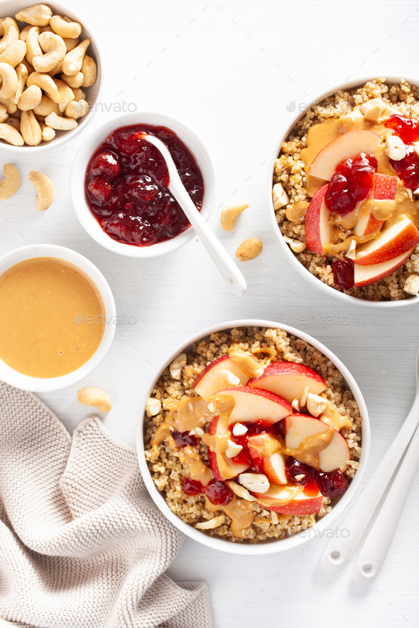 apple peanut butter quinoa bowl with jam and cashew for healthy - Stock Photo - Images