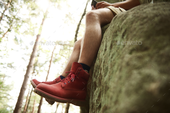 Side view of hiker's legs - Stock Photo - Images