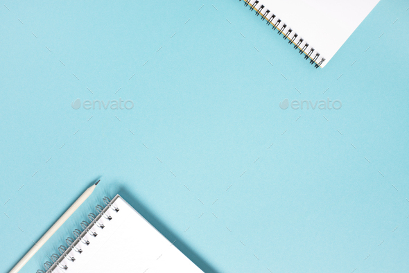 Minimal Blue Background with Notepads - Stock Photo - Images