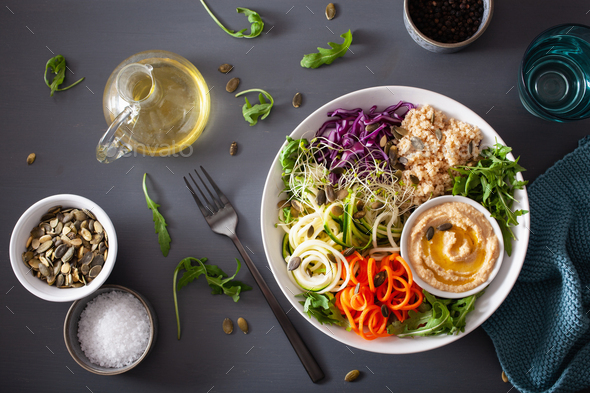 veggie couscous lunch bowl with spiralazed carrots and zucchini, - Stock Photo - Images