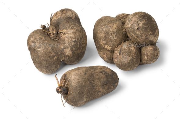 Fresh raw brown yams - Stock Photo - Images
