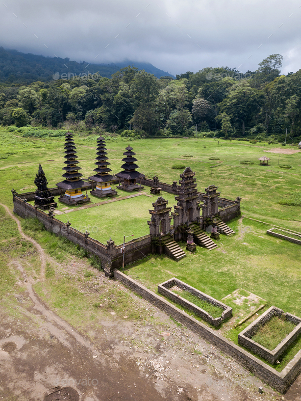 Balinese temple in the mountains - Stock Photo - Images