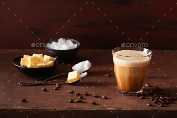 bulletproof coffee, keto paleo drink blended with butter and coc - Stock Photo - Images