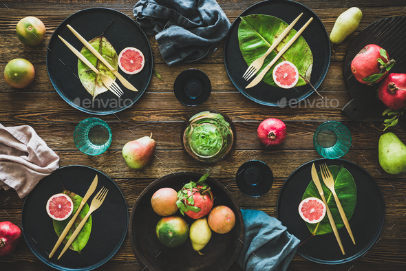 Autumn table styling for holiday dinner with black dinnerware - Stock Photo - Images