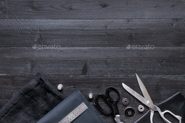 Black Sewing Background - Stock Photo - Images