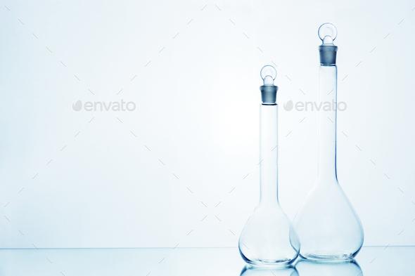 Laboratory Transparent Glassware on White - Stock Photo - Images
