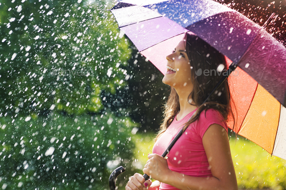 So much fun from summer rain - Stock Photo - Images