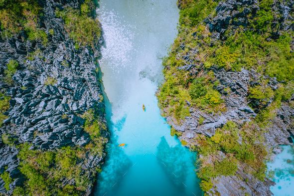 Aerial top down view of entrance into Big Lagoon at Miniloc Island, El Nido, Palawan, Philippines - Stock Photo - Images