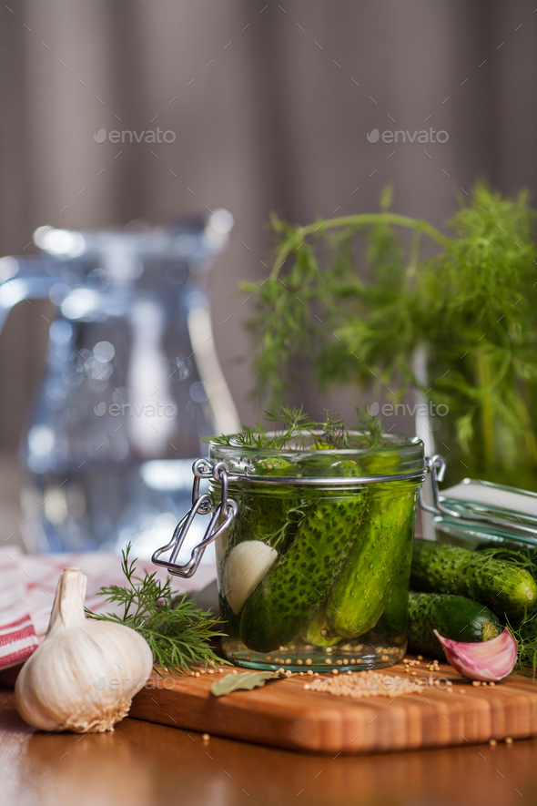 Homemade pickled cucumbers with garlic - Stock Photo - Images