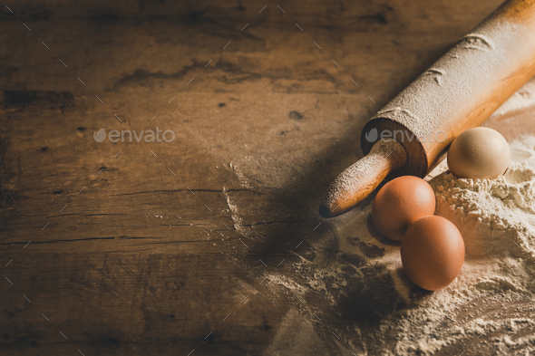 Wooden table with baking equipment - Stock Photo - Images