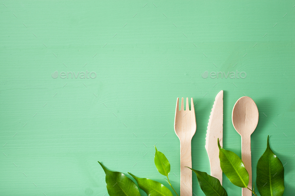 eco-friendly wooden cutlery. plastic free concept - Stock Photo - Images