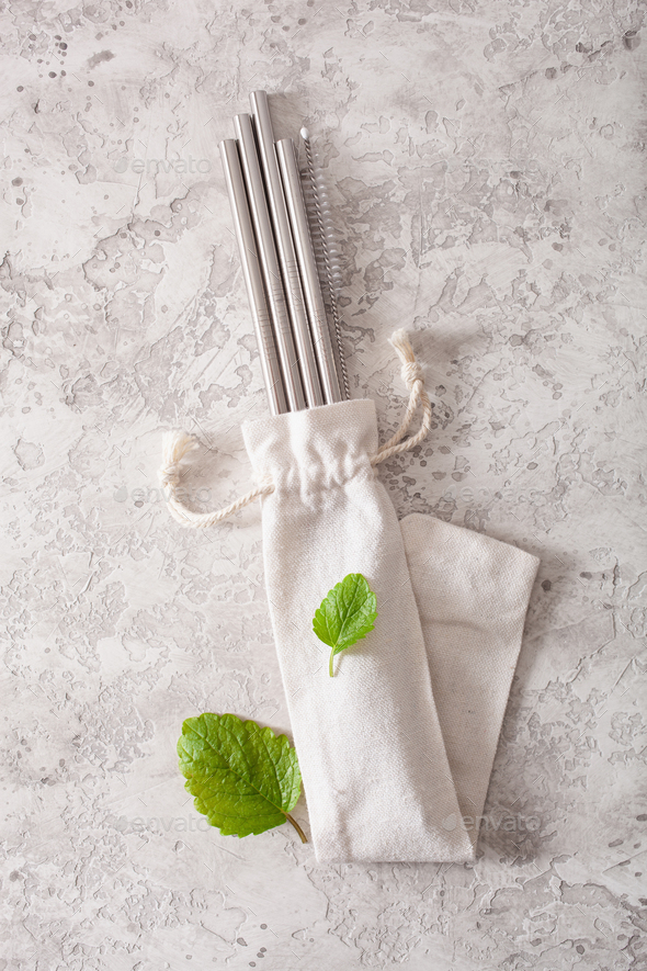 eco-friendly reusable metal drinking straw. zero waste concept - Stock Photo - Images