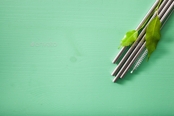 eco-friendly reusable metal drinking straw. zero waste concept - Stock Photo - Images