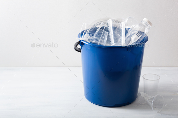 clean recyclable plastic bottles, containers, cups in garbage bi - Stock Photo - Images