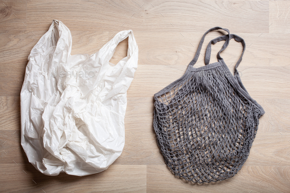 plastic and reusable mesh cotton shopping bag, plastic free zero - Stock Photo - Images