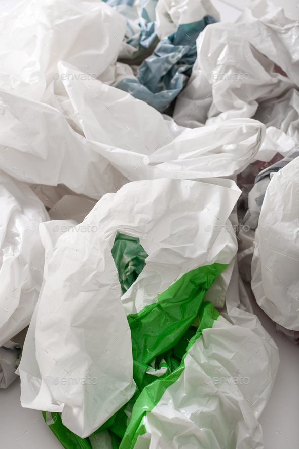 disposable plastic bag, waste, recycling, environmental issues - Stock Photo - Images
