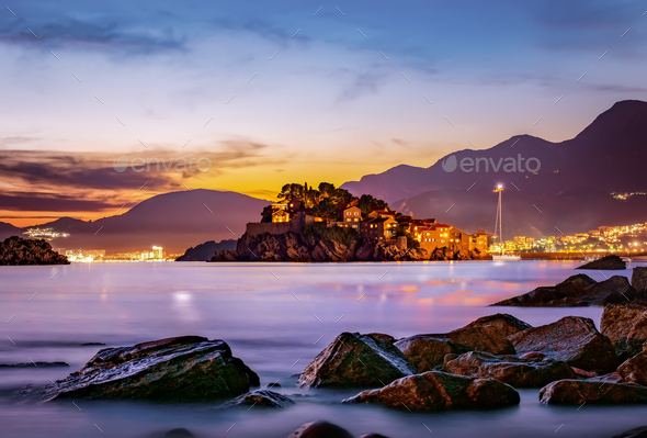 Sveti Stefan at sunset - Stock Photo - Images