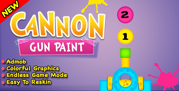 Cannon Gun Paint + Best New Game In Android Studio