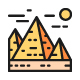 Set Of Travel Locations Landmark Color Line Icons. Pack Of 64x64 Pixel Icons