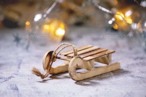 Christmas toys sled - Stock Photo - Images