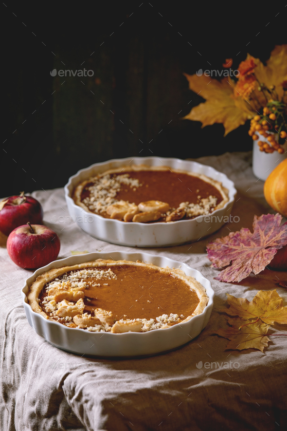 Traditional pumpkin pie - Stock Photo - Images