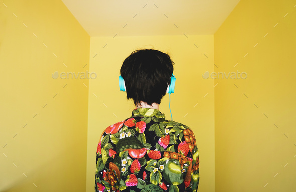 Cool young androgynous dj woman - Stock Photo - Images