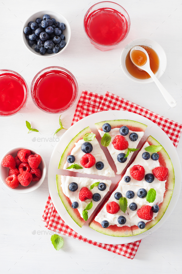 watermelon pizza slices with yogurt and berries, summer dessert - Stock Photo - Images
