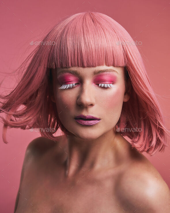 Fashion model girl with stylish dyed pink hair - Stock Photo - Images
