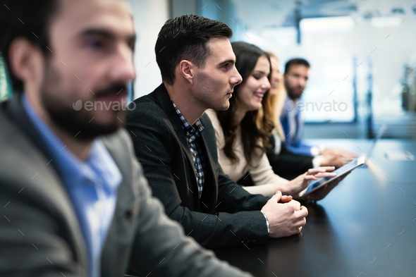 Picture of businesspeople having meeting in conference room - Stock Photo - Images