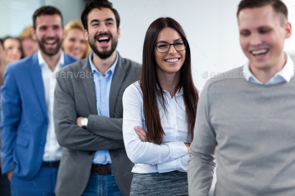 Group picture of business team posing in office - Stock Photo - Images