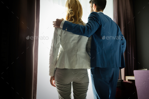Picture of handsome elegant man and attractive woman - Stock Photo - Images