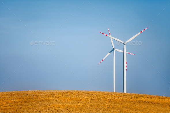 Landscape with wind turbines - Stock Photo - Images