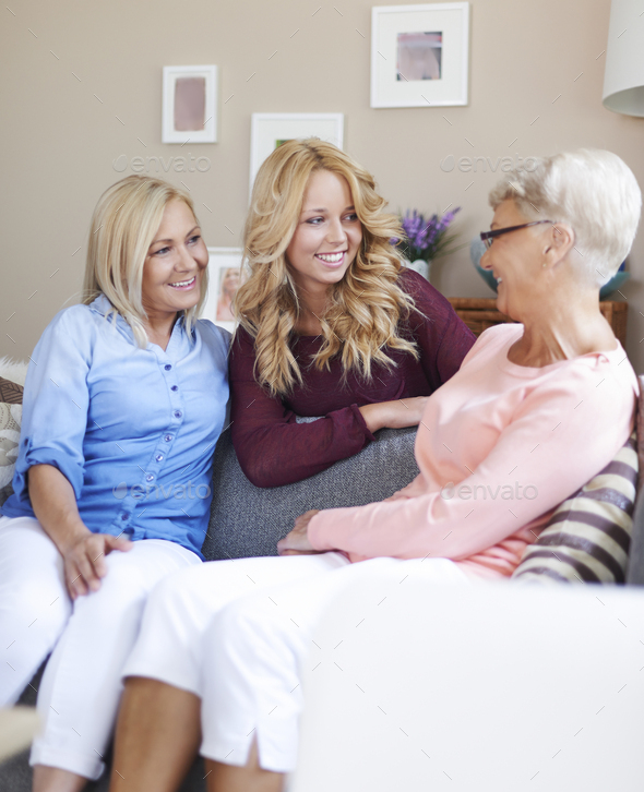 Happy meeting in grandmama's house - Stock Photo - Images