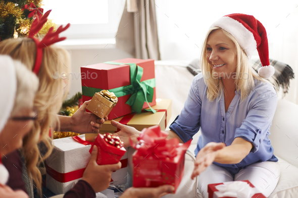 Precious family moments during Christmas time - Stock Photo - Images