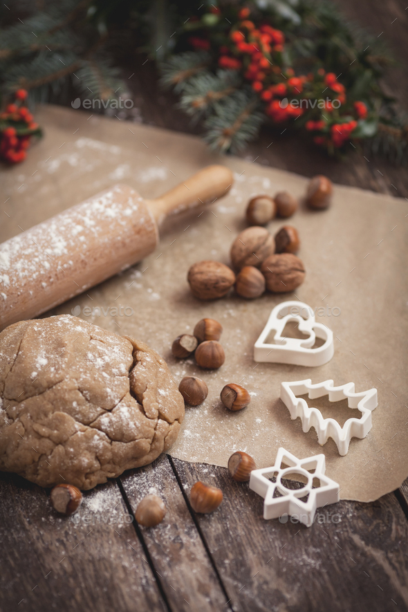 Baking sweet Christmas cookies with peanuts - Stock Photo - Images