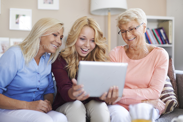 Digital tablet is good entertainment for us - Stock Photo - Images