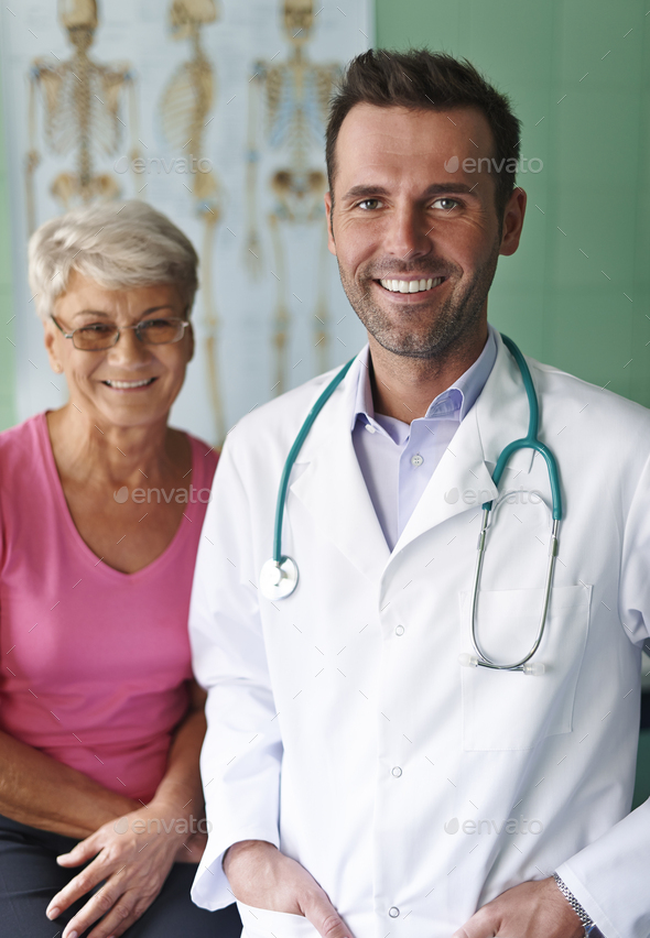 Portrait of doctor with his senior patient - Stock Photo - Images