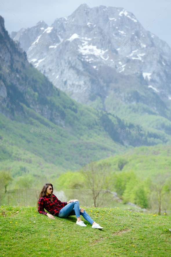 fashion woman relax in mountains and travel - Stock Photo - Images