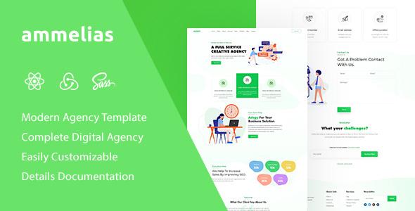 Ammelias - React Material UI Digital Agency Template